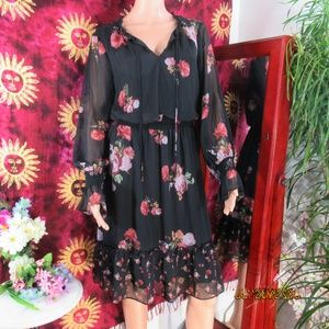 NWT Adrianna Papell Black Floral Chiffon Dress